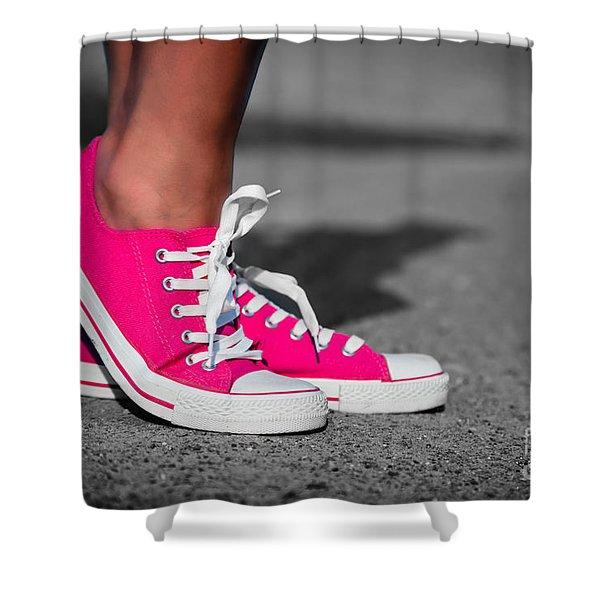 Pink sneakers  Shower Curtain by Michal Bednarek