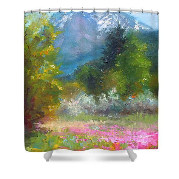 Pioneer Peaking - flowers and mountain in Alaska Shower Curtain by Talya Johnson