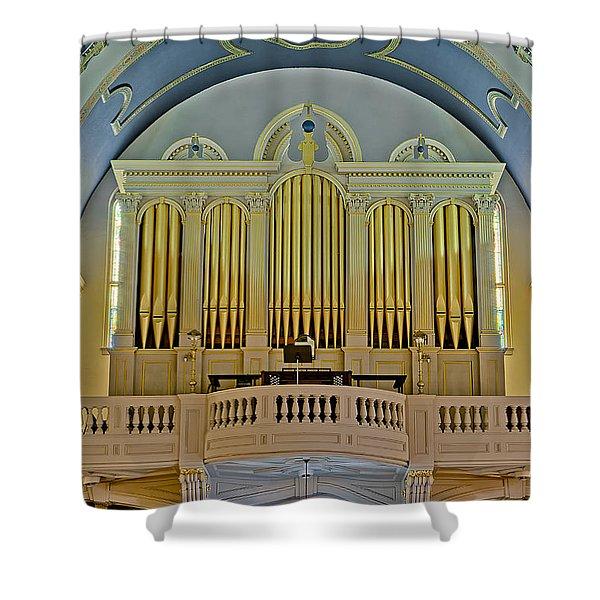 Pipe Organ At Saint Michaels Shower Curtain by Susan Candelario