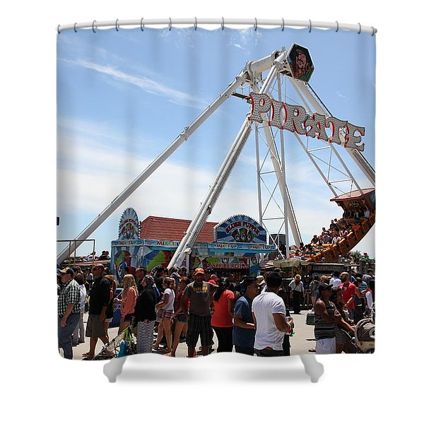 Pirate Ship At The Santa Cruz Beach Boardwalk California 5D23854 Shower Curtain by Wingsdomain Art and Photography