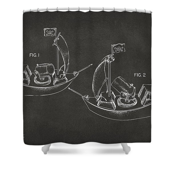 Pirate Ship Patent Artwork - Gray Shower Curtain by Nikki Marie Smith