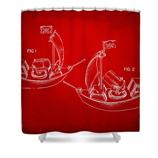 Pirate Ship Patent Artwork - Red Shower Curtain by Nikki Marie Smith