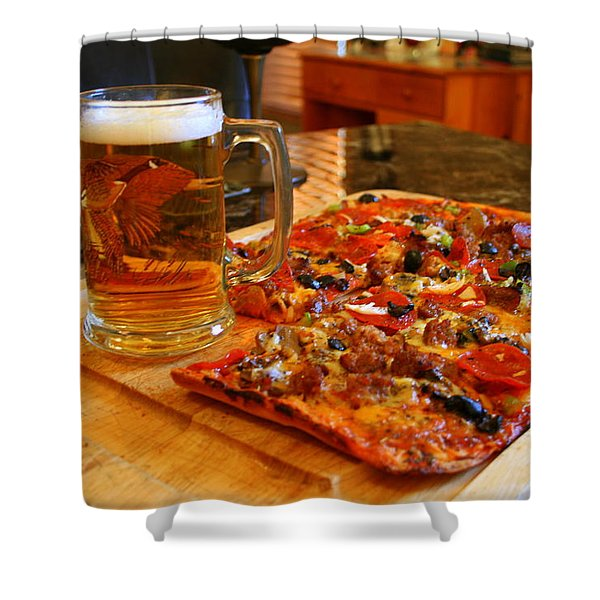 Pizza And Beer Shower Curtain by Kay Novy