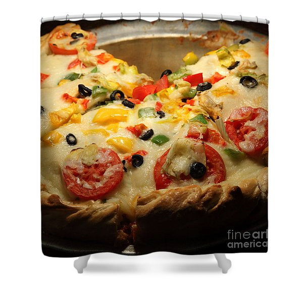 Pizza Pie - 5D20700 - square Shower Curtain by Wingsdomain Art and Photography