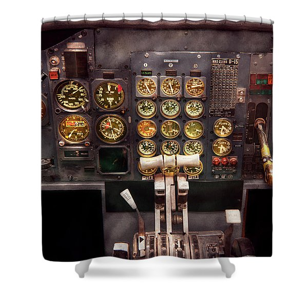 Plane - Cockpit - Boeing 727 - The controls are set Shower Curtain by Mike Savad
