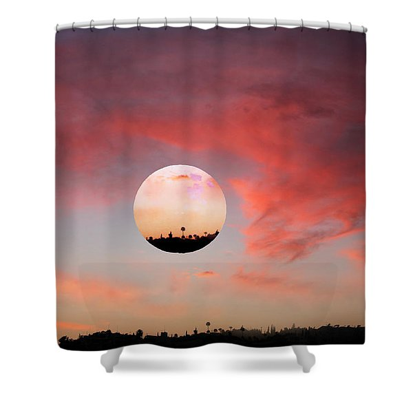 Planet and Sunset Shower Curtain by Augusta Stylianou
