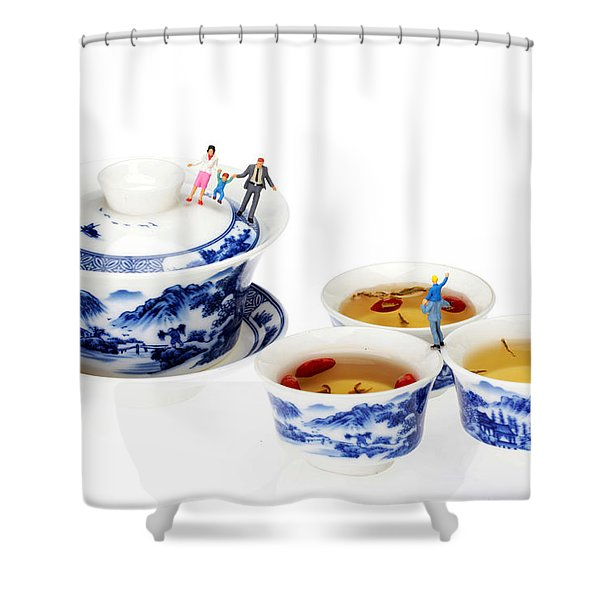 Playing Among Blue-and-white Porcelain Little People On Food Shower Curtain by Paul Ge