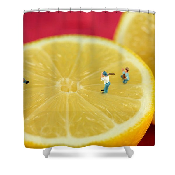 Playing Baseball On Lemon Shower Curtain by Paul Ge