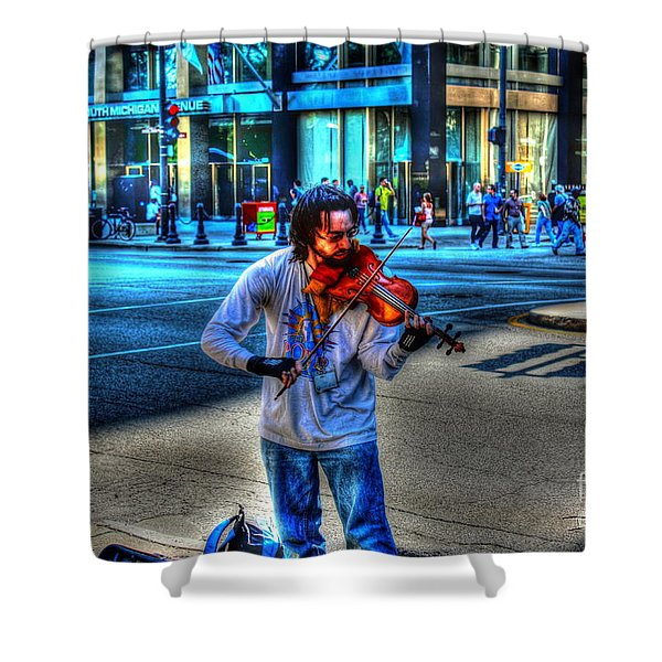 Playing For Pennies Shower Curtain by Dan Stone