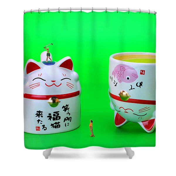 Playing Golf On Cat Cups Shower Curtain by Paul Ge