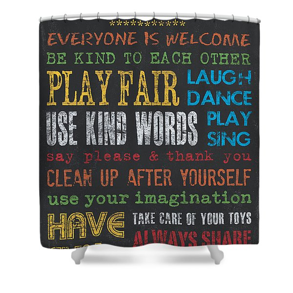 Playroom Rules Shower Curtain by Debbie DeWitt