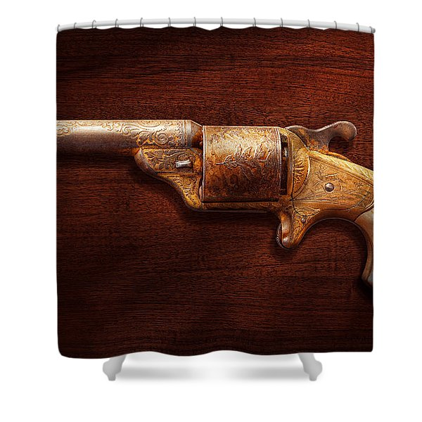 Police - Gun - Mr Fancy Pants Shower Curtain by Mike Savad