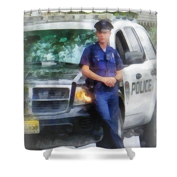 Police - Policeman by Patrol Car Shower Curtain by Susan Savad