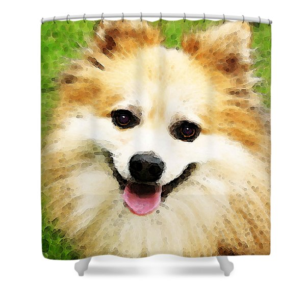 Pomeranian - Bright Eyes Shower Curtain by Sharon Cummings