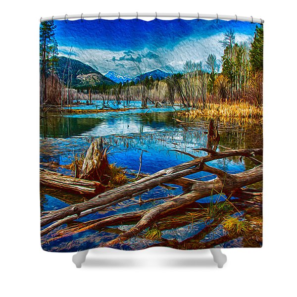 Pondering A Mountain Shower Curtain by Omaste Witkowski