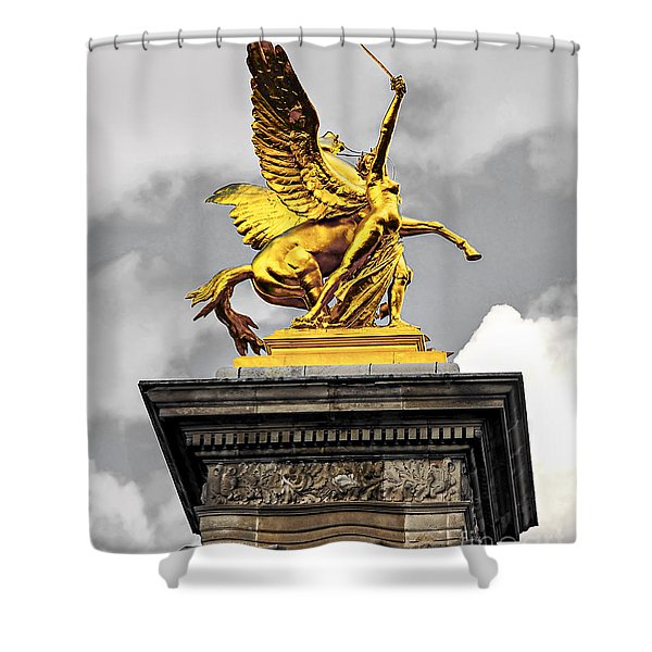 Pont Alexander III fragment in Paris Shower Curtain by Elena Elisseeva
