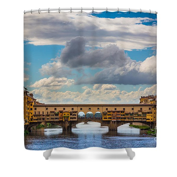 Ponte Vecchio Clouds Shower Curtain by Inge Johnsson