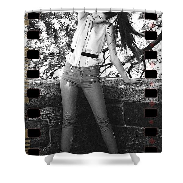 Pony Tail Lady Shower Curtain by Alice Gipson