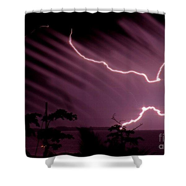 Popa Island Lightning Shower Curtain by Bob Hislop