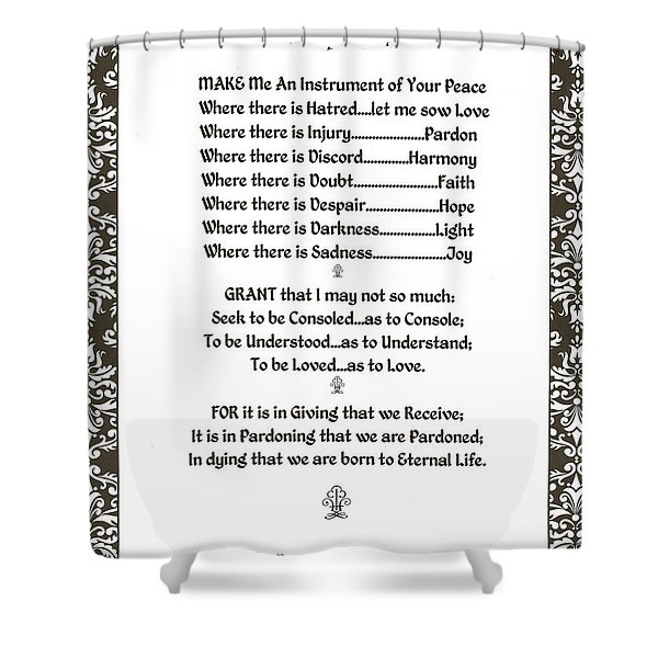 Pope Francis St. Francis Simple Prayer Filigreefaith Shower Curtain by Desiderata Gallery