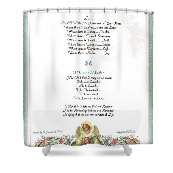 Pope Francis St. Francis Simple Prayer Florentine Angel Shower Curtain by Desiderata Gallery