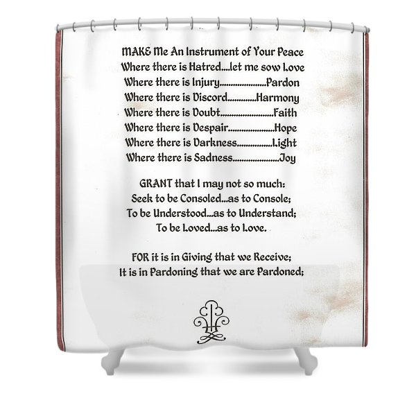 Pope Francis St. Francis Simple Prayer Sicily Shower Curtain by Desiderata Gallery