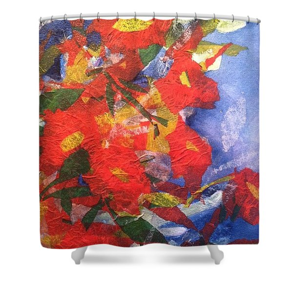 Poppies Gone Wild Shower Curtain by Sherry Harradence
