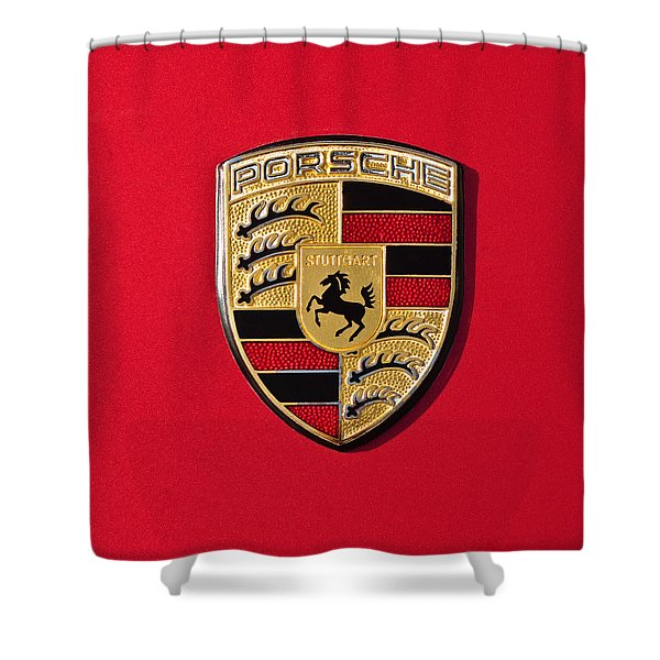 Porsche Emblem -0057cold Shower Curtain by Jill Reger