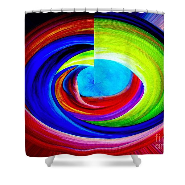 Portal In Space Abstract Art Shower Curtain by Annie Zeno
