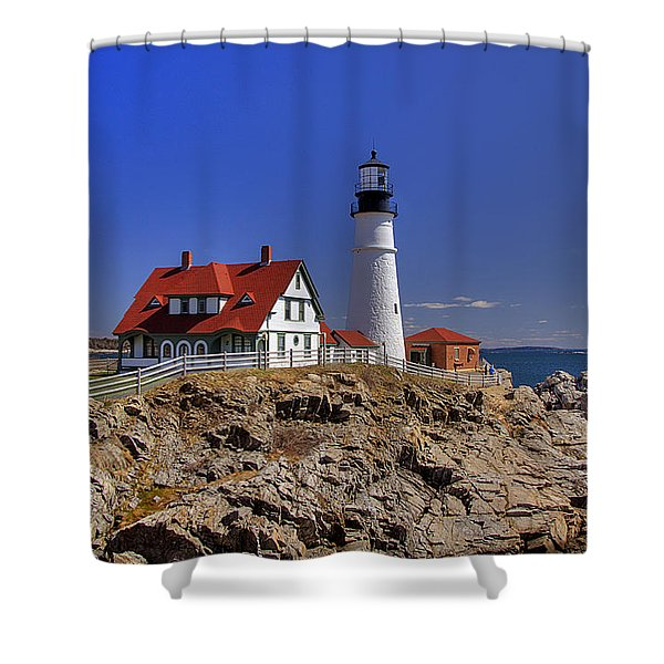 Portland Head Light 3 Shower Curtain by Joann Vitali