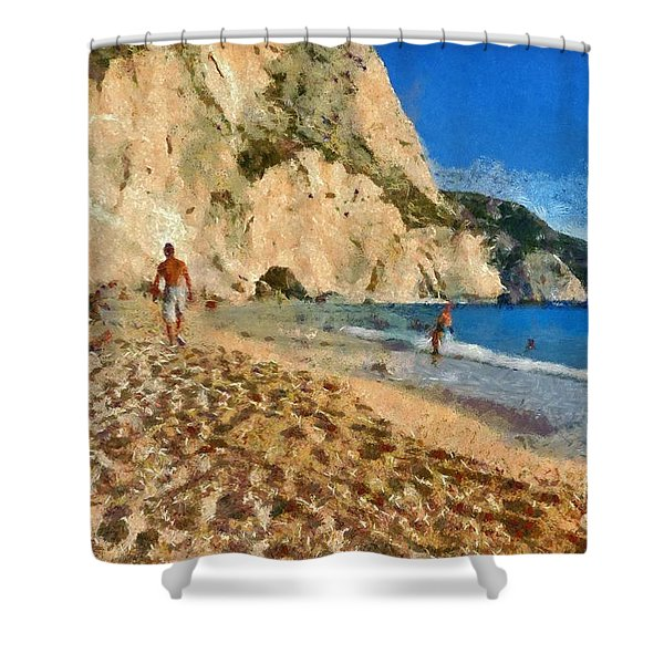 Porto Katsiki beach in Lefkada island Shower Curtain by George Atsametakis