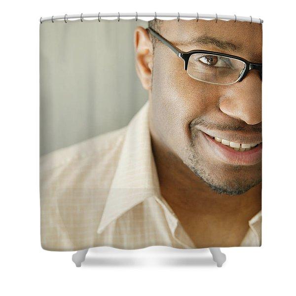Portrait Of A Man Shower Curtain by Darren Greenwood