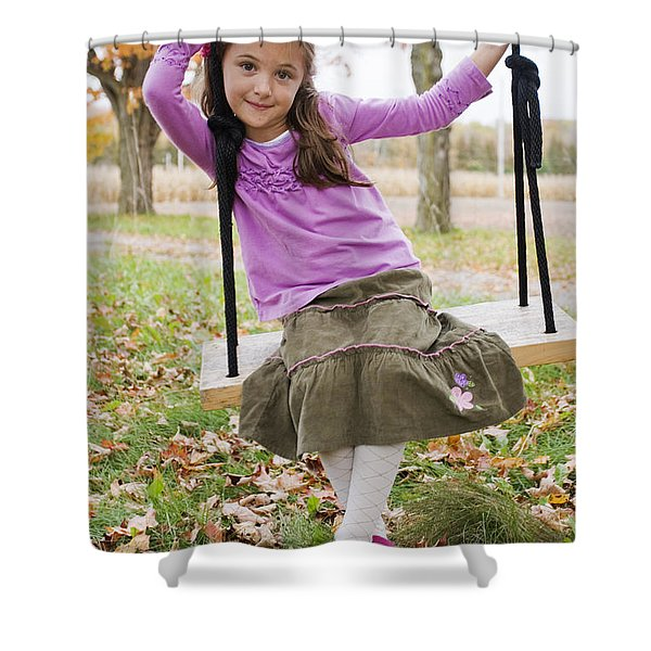 Portrait Of Young Girl On Swing Shower Curtain by Vast Photography
