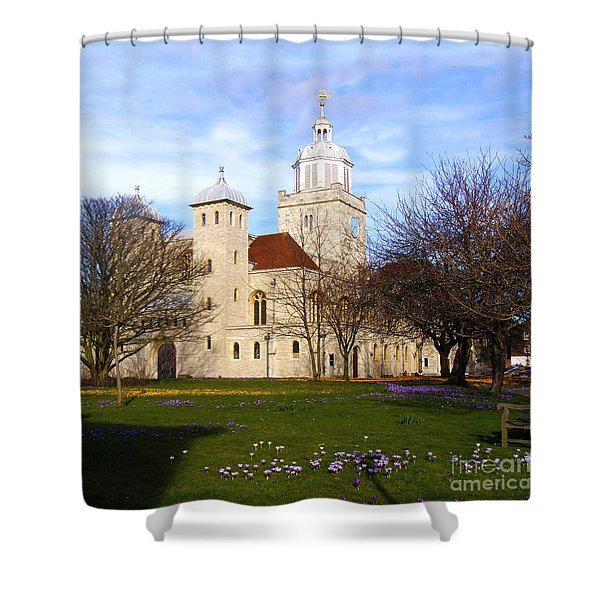 Portsmouth Cathedral at Springtime Shower Curtain by Terri  Waters