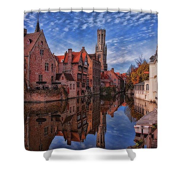 Postcard Canal Shower Curtain by Joan Carroll
