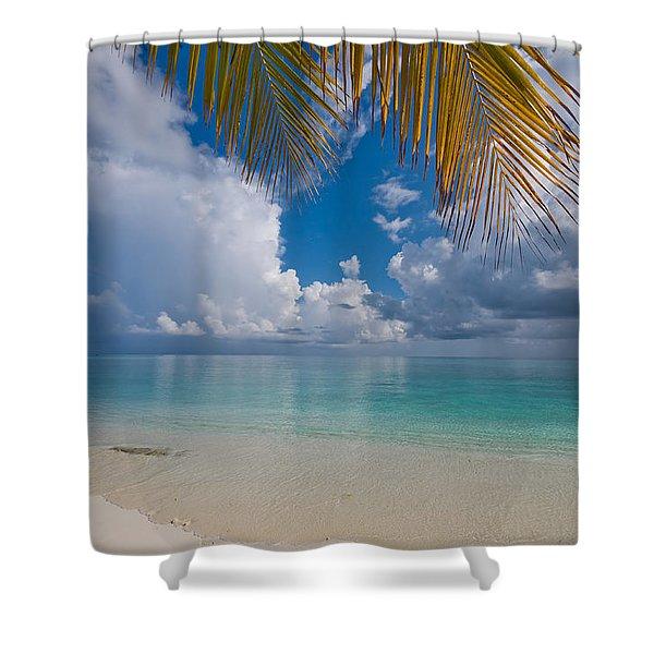 Postcard Perfection. Maldives Shower Curtain by Jenny Rainbow