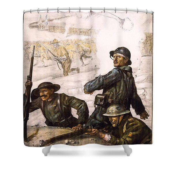 POUR LA VICTOIRE - W W 1 - 1918 Shower Curtain by Daniel Hagerman