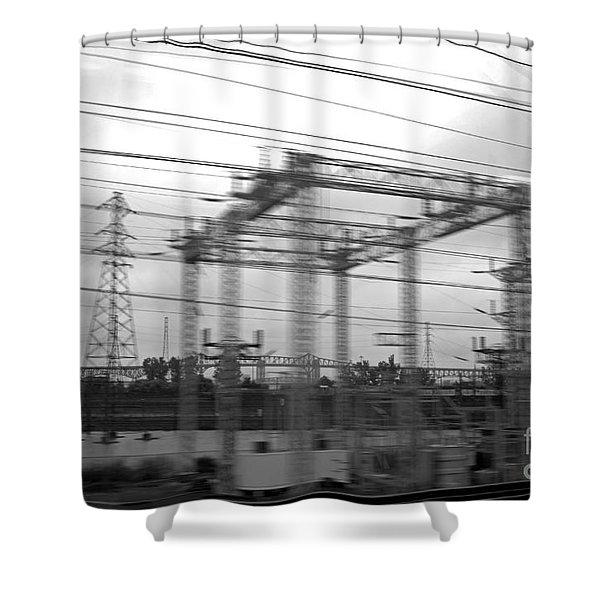 Power lines Shower Curtain by Tony Cordoza