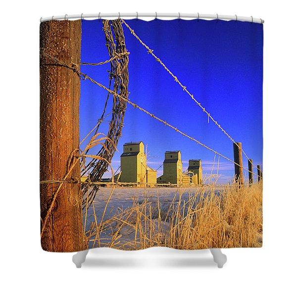 Prairie Grain Elevators Shower Curtain by Bob Christopher