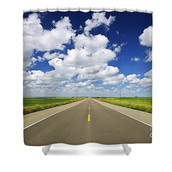 Prairie highway Shower Curtain by Elena Elisseeva