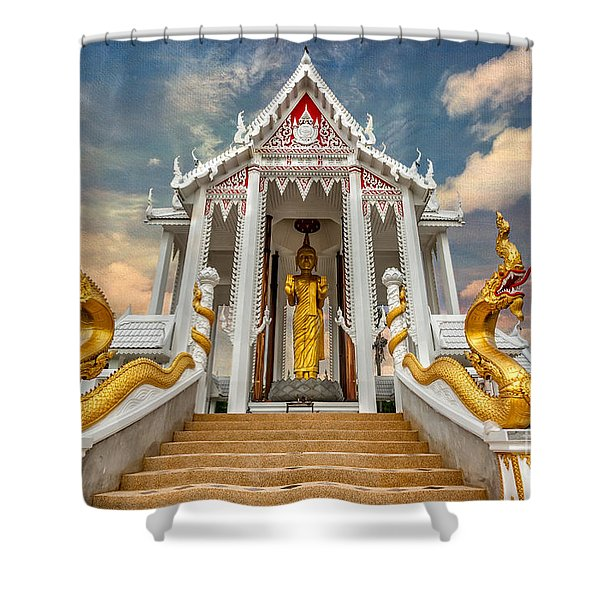 Pranburi Temple Shower Curtain by Adrian Evans