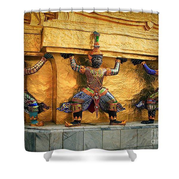 Prasatphradhepbidorn Golden Wall Shower Curtain by Inge Johnsson