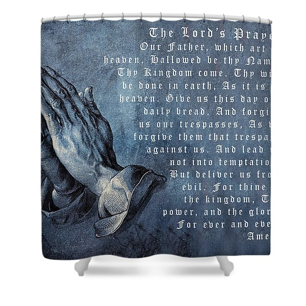 Praying Hands Lords Prayer Shower Curtain by Albrecht Durer