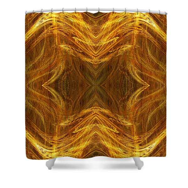 Precious Metal 3 Ocean Waves Dark Gold Shower Curtain by Andee Design