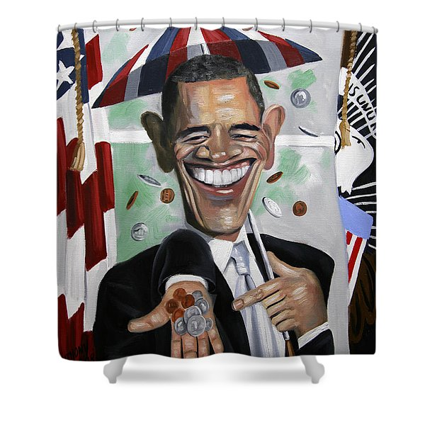 President Barock Obama Change Shower Curtain by Anthony Falbo