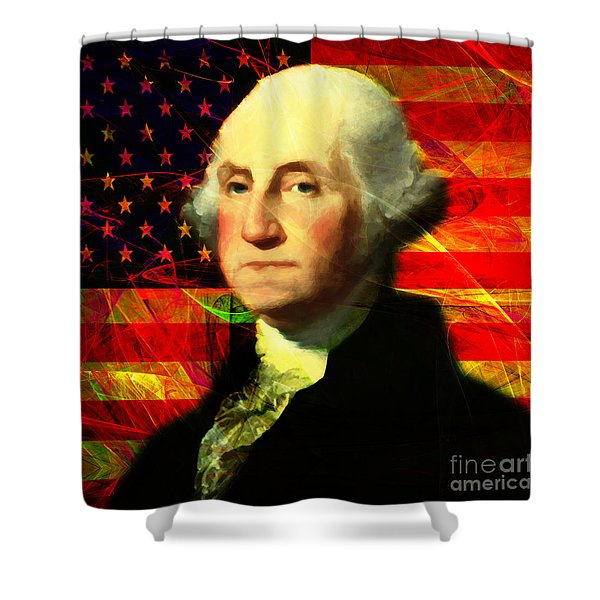 President George Washington V2 M20 Square Shower Curtain by Wingsdomain Art and Photography