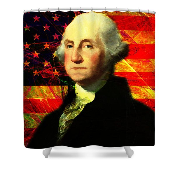 President George Washington V2 M20 Shower Curtain by Wingsdomain Art and Photography