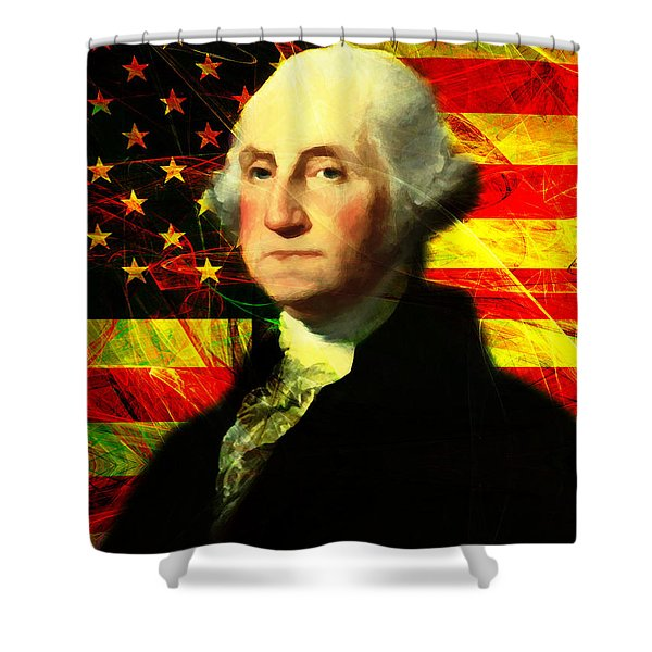 President George Washington V2 Shower Curtain by Wingsdomain Art and Photography