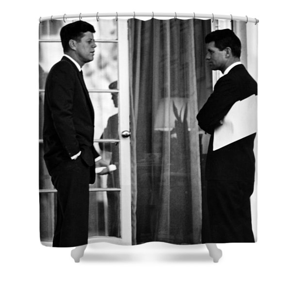 President John Kennedy And Robert Kennedy Shower Curtain by War Is Hell Store