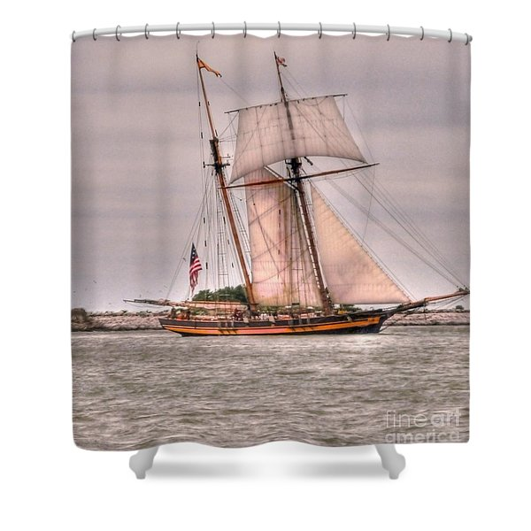Pride Of Baltimore Shower Curtain by Kathleen Struckle